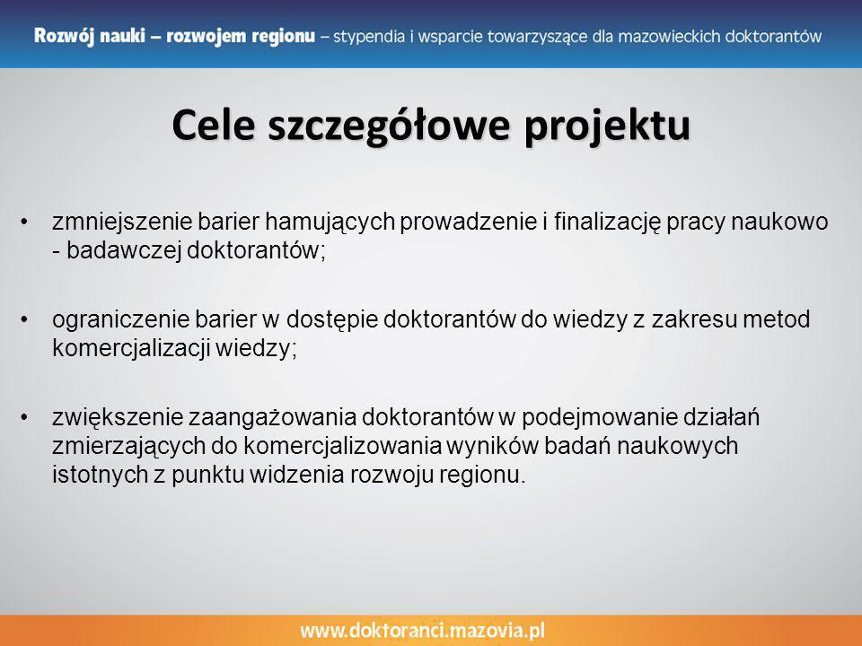 Cele szczegółowe projektu zmniejszenie barier hamujących prowadzenie i finalizację pracy naukowo - badawczej doktorantów; ograniczenie barier w dostęp