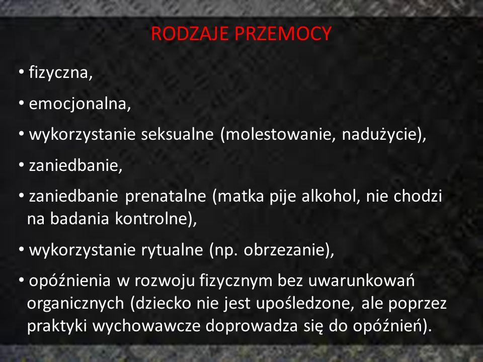 RODZAJE PRZEMOCY fizyczna, emocjonalna, wykorzystanie seksualne (molestowanie, nadużycie), zaniedbanie, zaniedbanie prenatalne (matka pije alkohol, ni
