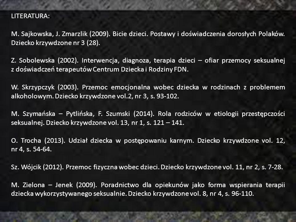 LITERATURA: M. Sajkowska, J. Zmarzlik (2009). Bicie dzieci. Postawy i doświadczenia dorosłych Polaków. Dziecko krzywdzone nr 3 (28). Z. Sobolewska (20