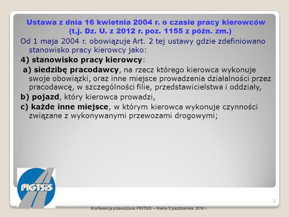 Ustawa z dnia 16 kwietnia 2004 r. o czasie pracy kierowców (t.j. Dz. U. z 2012 r. poz. 1155 z późn. zm.) Od 1 maja 2004 r. obowiązuje Art. 2 tej ustaw