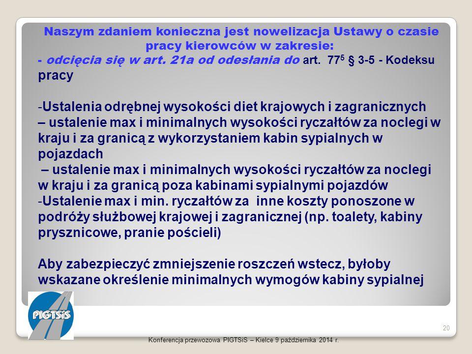 Konferencja przewozowa PIGTSiS – Kielce 9 października 2014 r. 20 Naszym zdaniem konieczna jest nowelizacja Ustawy o czasie pracy kierowców w zakresie