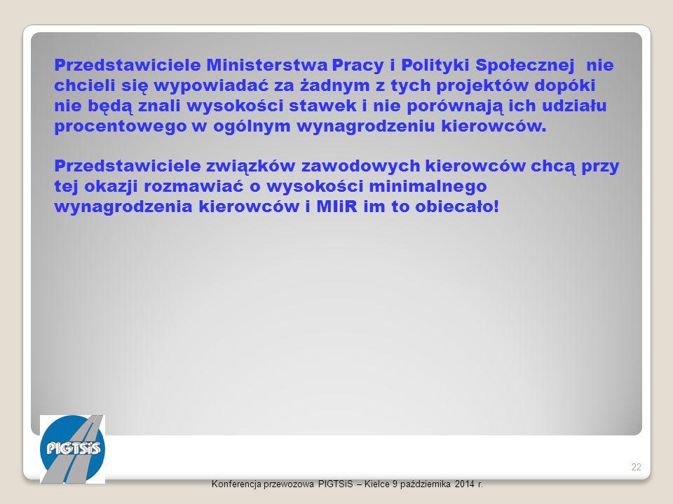 Konferencja przewozowa PIGTSiS – Kielce 9 października 2014 r. 22 Przedstawiciele Ministerstwa Pracy i Polityki Społecznej nie chcieli się wypowiadać