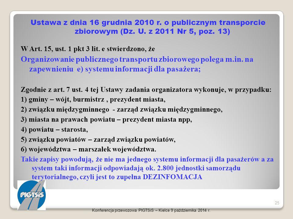Ustawa z dnia 16 grudnia 2010 r. o publicznym transporcie zbiorowym (Dz. U. z 2011 Nr 5, poz. 13) W Art. 15, ust. 1 pkt 3 lit. e stwierdzono, że Organ