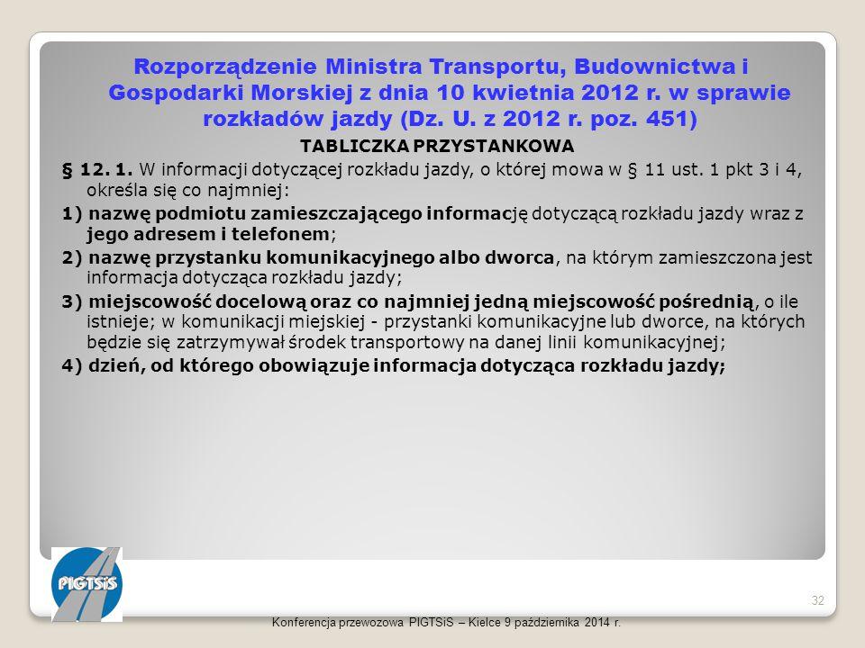 Rozporządzenie Ministra Transportu, Budownictwa i Gospodarki Morskiej z dnia 10 kwietnia 2012 r. w sprawie rozkładów jazdy (Dz. U. z 2012 r. poz. 451)