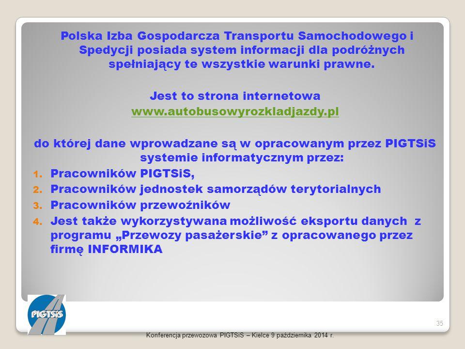 Polska Izba Gospodarcza Transportu Samochodowego i Spedycji posiada system informacji dla podróżnych spełniający te wszystkie warunki prawne. Jest to