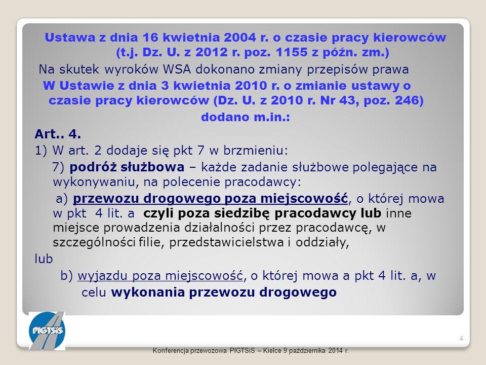 Ustawa z dnia 16 kwietnia 2004 r. o czasie pracy kierowców (t.j. Dz. U. z 2012 r. poz. 1155 z późn. zm.) Na skutek wyroków WSA dokonano zmiany przepis