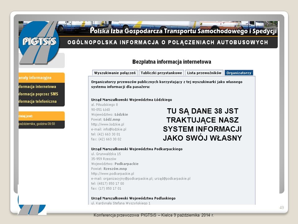 Konferencja przewozowa PIGTSiS – Kielce 9 października 2014 r. 49 TU SĄ DANE 38 JST TRAKTUJĄCE NASZ SYSTEM INFORMACJI JAKO SWÓJ WŁASNY