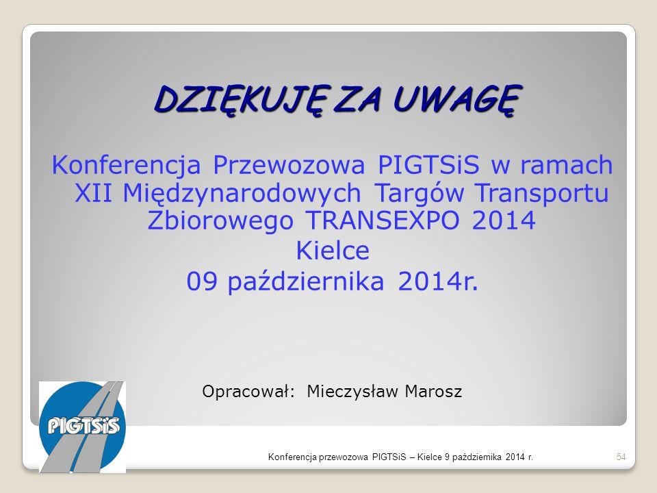 DZIĘKUJĘ ZA UWAGĘ Konferencja Przewozowa PIGTSiS w ramach XII Międzynarodowych Targów Transportu Zbiorowego TRANSEXPO 2014 Kielce 09 października 2014