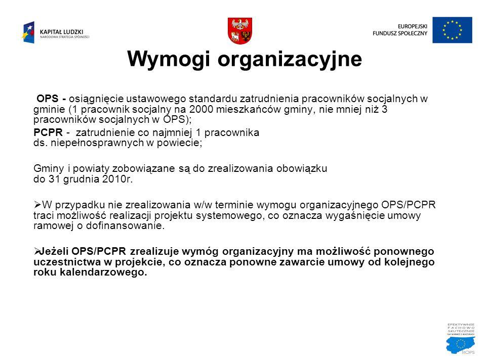 Wymogi organizacyjne OPS - osiągnięcie ustawowego standardu zatrudnienia pracowników socjalnych w gminie (1 pracownik socjalny na 2000 mieszkańców gmi