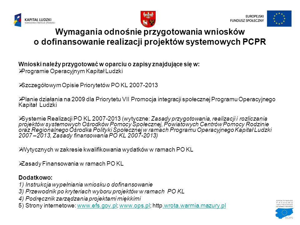Wymagania odnośnie przygotowania wniosków o dofinansowanie realizacji projektów systemowych PCPR Wnioski należy przygotować w oparciu o zapisy znajduj