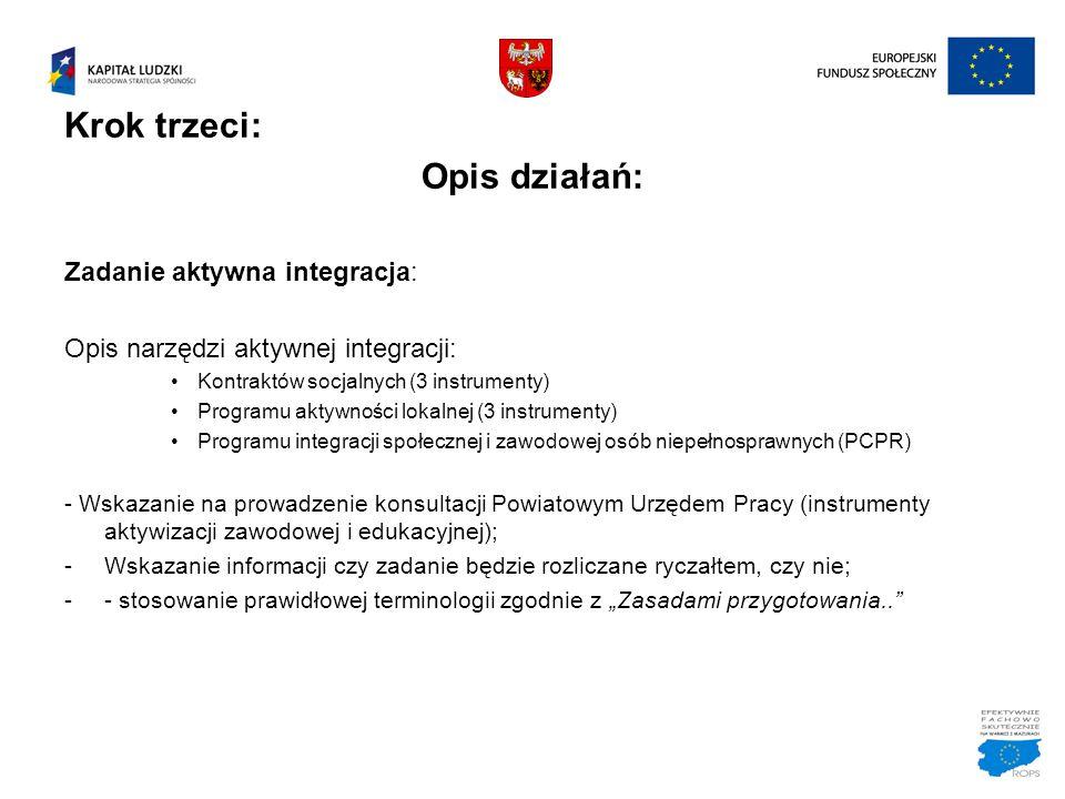 Krok trzeci: Opis działań: Zadanie aktywna integracja: Opis narzędzi aktywnej integracji: Kontraktów socjalnych (3 instrumenty) Programu aktywności lo