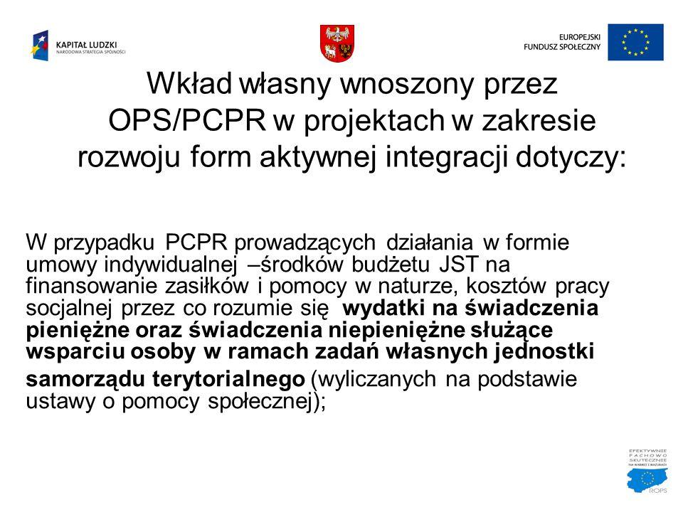Wkład własny wnoszony przez OPS/PCPR w projektach w zakresie rozwoju form aktywnej integracji dotyczy: W przypadku PCPR prowadzących działania w formi