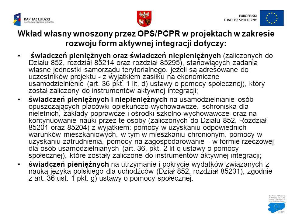Wkład własny wnoszony przez OPS/PCPR w projektach w zakresie rozwoju form aktywnej integracji dotyczy: świadczeń pieniężnych oraz świadczeń niepienięż