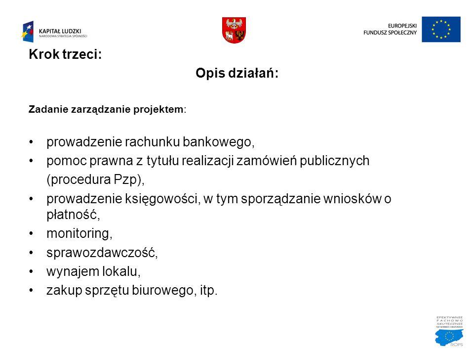 Krok trzeci: Opis działań: Zadanie zarządzanie projektem: prowadzenie rachunku bankowego, pomoc prawna z tytułu realizacji zamówień publicznych (proce