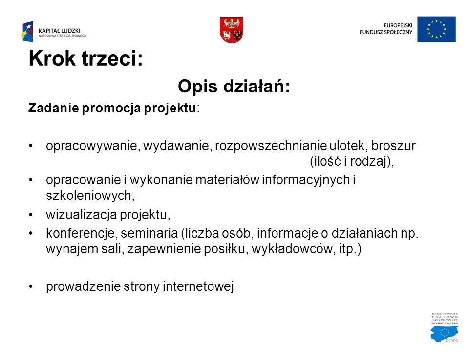 Krok trzeci: Opis działań: Zadanie promocja projektu: opracowywanie, wydawanie, rozpowszechnianie ulotek, broszur (ilość i rodzaj), opracowanie i wyko
