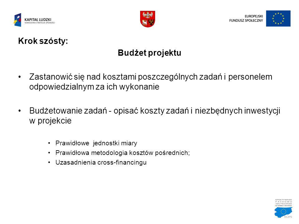 Krok szósty: Budżet projektu Zastanowić się nad kosztami poszczególnych zadań i personelem odpowiedzialnym za ich wykonanie Budżetowanie zadań - opisa