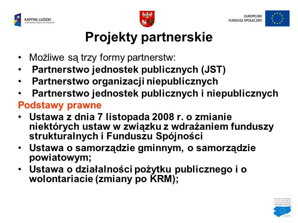 Projekty partnerskie Możliwe są trzy formy partnerstw: Partnerstwo jednostek publicznych (JST) Partnerstwo organizacji niepublicznych Partnerstwo jedn