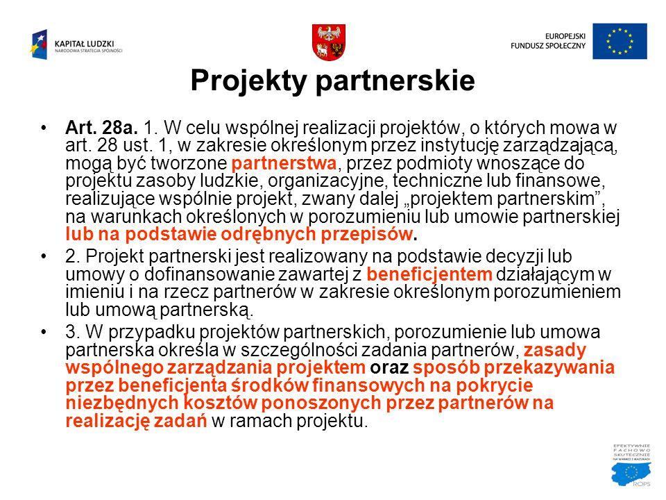 Projekty partnerskie Art. 28a. 1. W celu wspólnej realizacji projektów, o których mowa w art. 28 ust. 1, w zakresie określonym przez instytucję zarząd