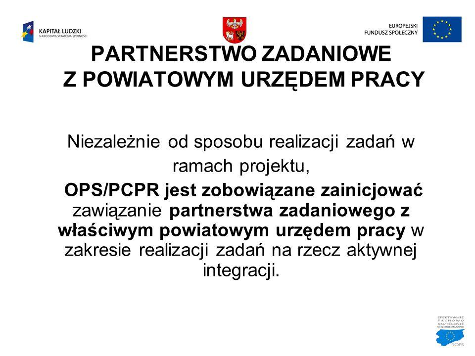 PARTNERSTWO ZADANIOWE Z POWIATOWYM URZĘDEM PRACY Niezależnie od sposobu realizacji zadań w ramach projektu, OPS/PCPR jest zobowiązane zainicjować zawi