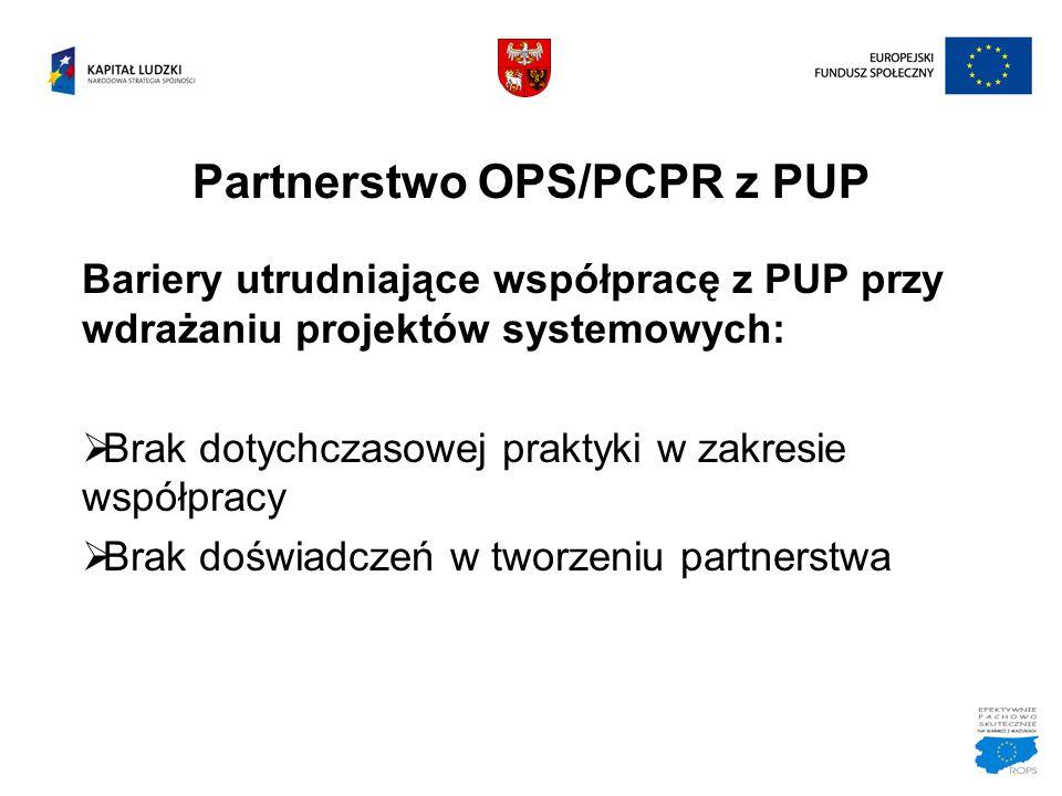 Partnerstwo OPS/PCPR z PUP Bariery utrudniające współpracę z PUP przy wdrażaniu projektów systemowych:  Brak dotychczasowej praktyki w zakresie współ