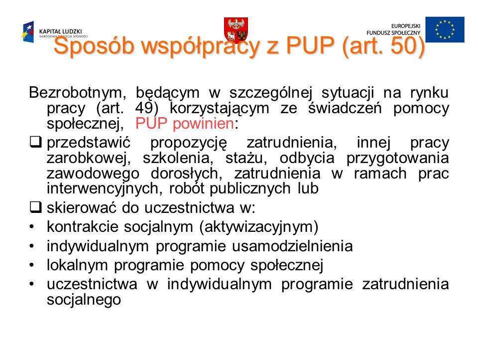 Sposób współpracy z PUP (art. 50) Bezrobotnym, będącym w szczególnej sytuacji na rynku pracy (art. 49) korzystającym ze świadczeń pomocy społecznej, P