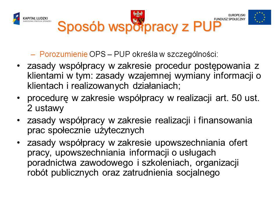 Sposób współpracy z PUP –Porozumienie OPS – PUP określa w szczególności: zasady współpracy w zakresie procedur postępowania z klientami w tym: zasady