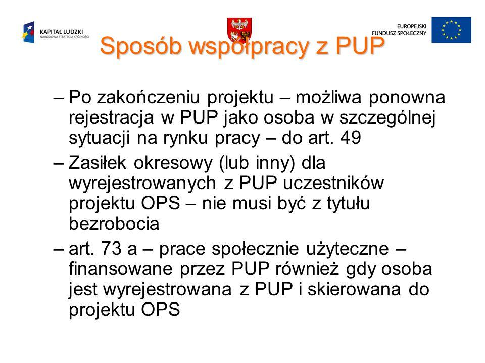 Sposób współpracy z PUP –Po zakończeniu projektu – możliwa ponowna rejestracja w PUP jako osoba w szczególnej sytuacji na rynku pracy – do art. 49 –Za