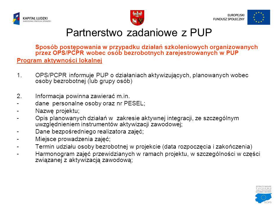 Partnerstwo zadaniowe z PUP Sposób postępowania w przypadku działań szkoleniowych organizowanych przez OPS/PCPR wobec osób bezrobotnych zarejestrowany