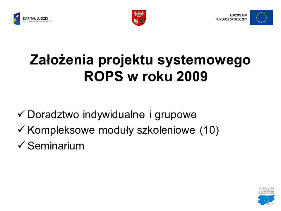 Założenia projektu systemowego ROPS w roku 2009 Doradztwo indywidualne i grupowe Kompleksowe moduły szkoleniowe (10) Seminarium