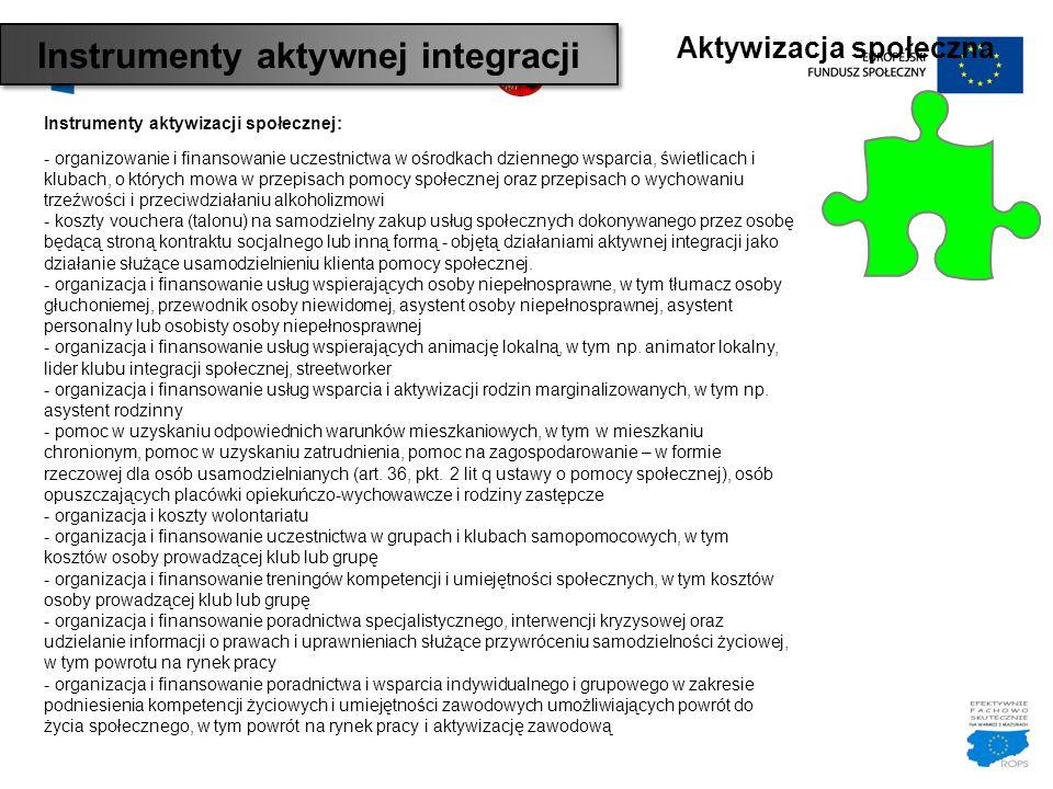 Aktywizacja społeczna Instrumenty aktywizacji społecznej: - organizowanie i finansowanie uczestnictwa w ośrodkach dziennego wsparcia, świetlicach i kl