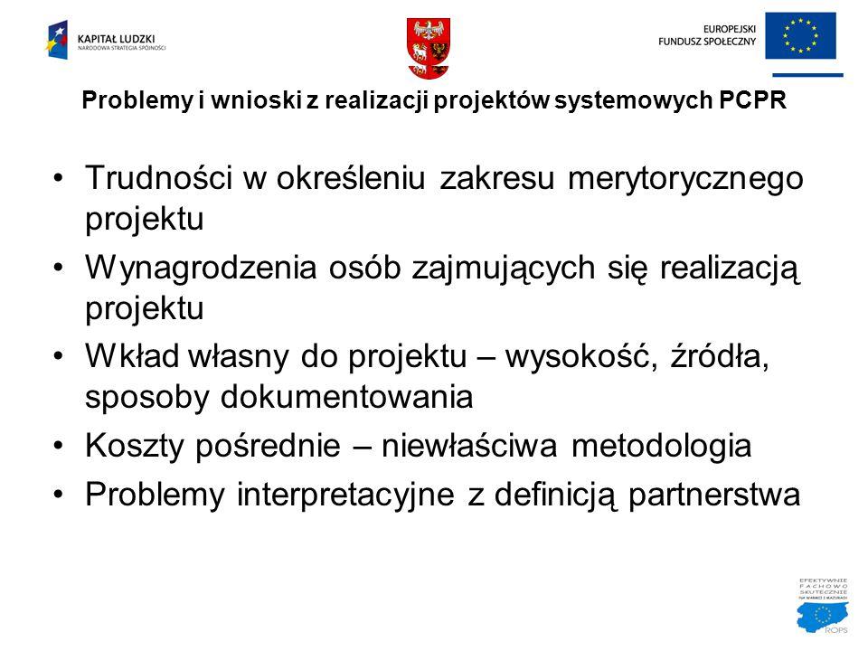 Problemy i wnioski z realizacji projektów systemowych PCPR Trudności w określeniu zakresu merytorycznego projektu Wynagrodzenia osób zajmujących się r