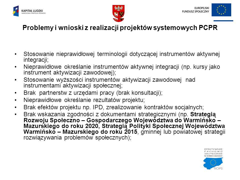 Problemy i wnioski z realizacji projektów systemowych PCPR Stosowanie nieprawidłowej terminologii dotyczącej instrumentów aktywnej integracji; Niepraw