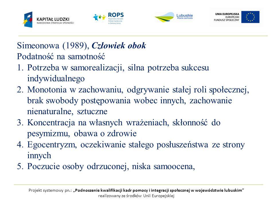 """Projekt systemowy pn.: """"Podnoszenie kwalifikacji kadr pomocy i integracji społecznej w województwie lubuskim realizowany ze środków Unii Europejskiej Simeonowa (1989), Człowiek obok Podatność na samotność 1.Potrzeba w samorealizacji, silna potrzeba sukcesu indywidualnego 2.Monotonia w zachowaniu, odgrywanie stałej roli społecznej, brak swobody postępowania wobec innych, zachowanie nienaturalne, sztuczne 3.Koncentracja na własnych wrażeniach, skłonność do pesymizmu, obawa o zdrowie 4.Egocentryzm, oczekiwanie stałego posłuszeństwa ze strony innych 5.Poczucie osoby odrzuconej, niska samoocena,"""