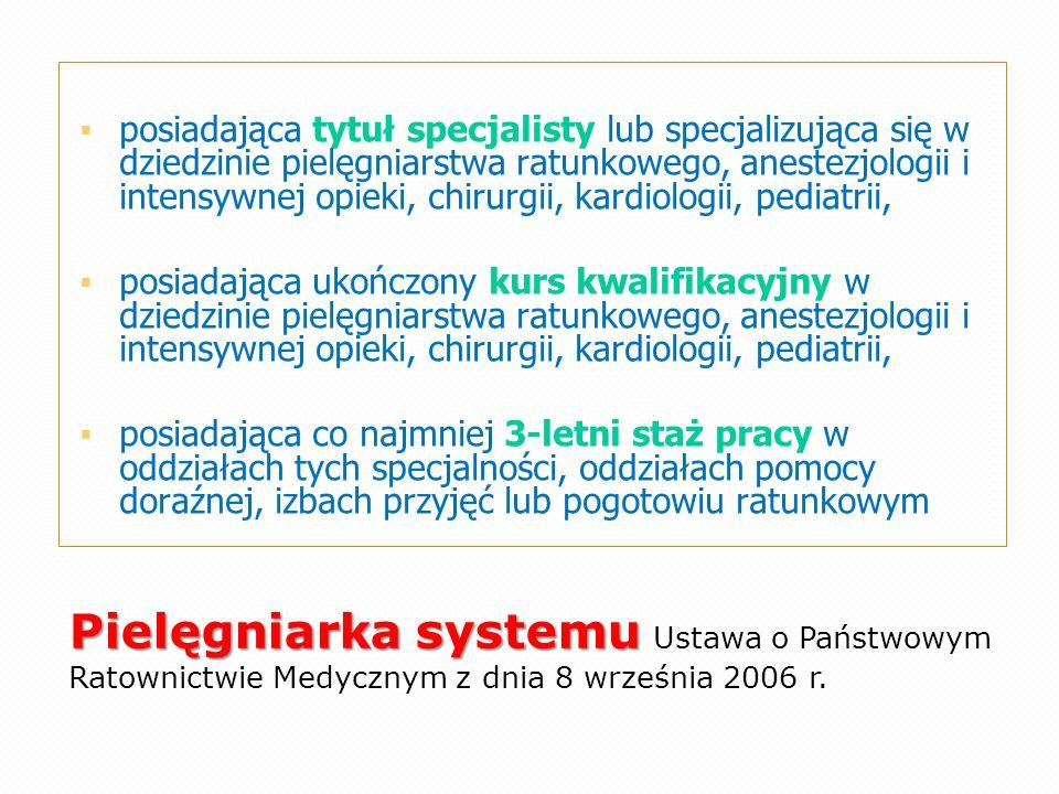 Pielęgniarka systemu Pielęgniarka systemu Ustawa o Państwowym Ratownictwie Medycznym z dnia 8 września 2006 r.  posiadająca tytuł specjalisty lub spe