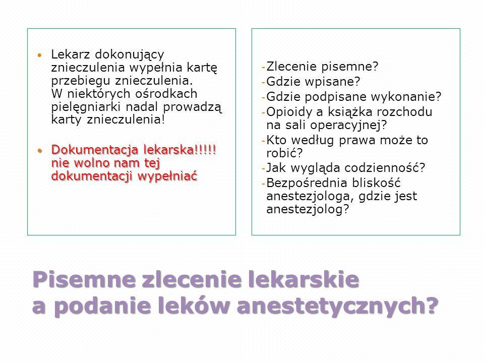 Pisemne zlecenie lekarskie a podanie leków anestetycznych? Lekarz dokonujący znieczulenia wypełnia kartę przebiegu znieczulenia. W niektórych ośrodkac
