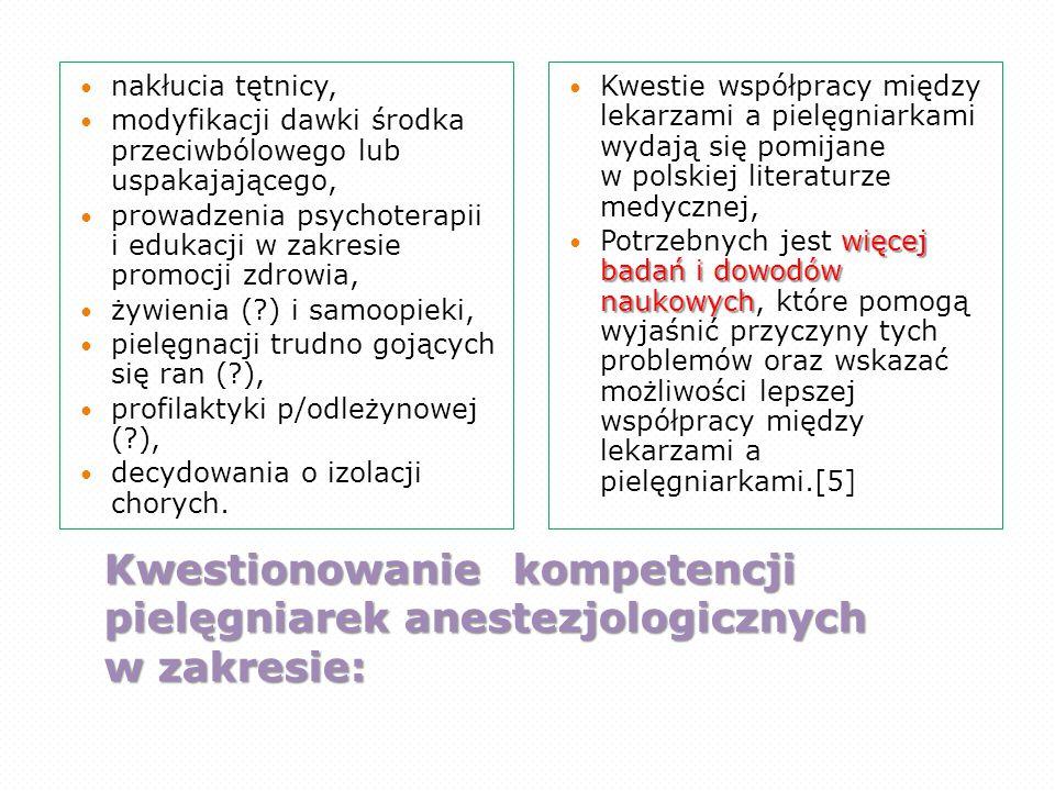 Kwestionowanie kompetencji pielęgniarek anestezjologicznych w zakresie: nakłucia tętnicy, modyfikacji dawki środka przeciwbólowego lub uspakajającego,