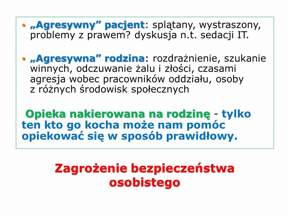 """Zagrożenie bezpieczeństwa osobistego """"Agresywny"""" pacjent """"Agresywny"""" pacjent: splątany, wystraszony, problemy z prawem? dyskusja n.t. sedacji IT. """"Agr"""