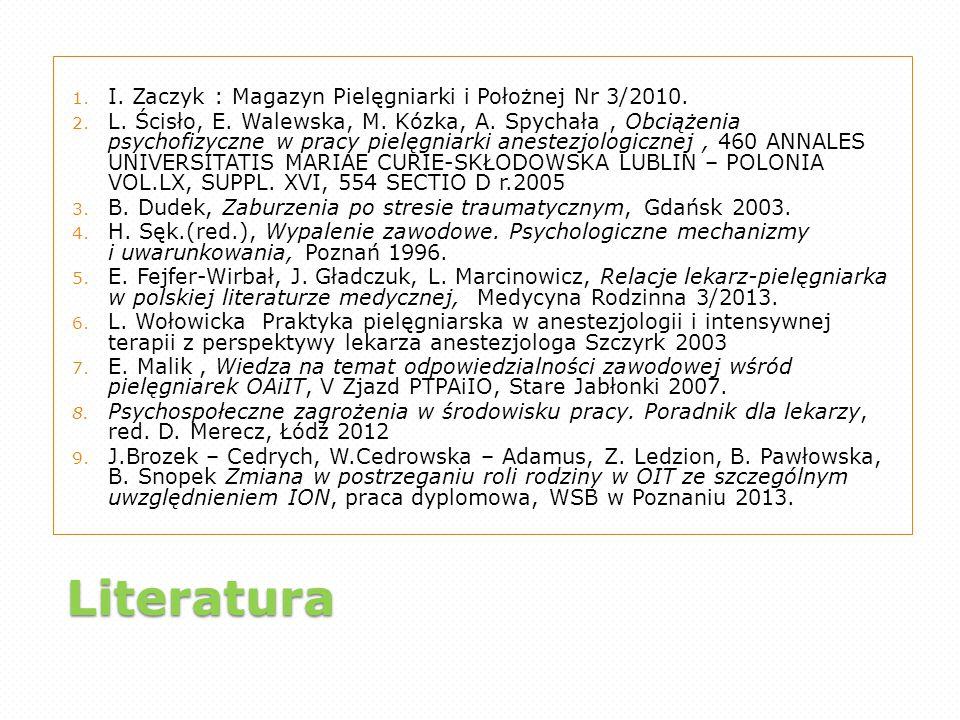 Literatura 1. I. Zaczyk : Magazyn Pielęgniarki i Położnej Nr 3/2010. 2. L. Ścisło, E. Walewska, M. Kózka, A. Spychała, Obciążenia psychofizyczne w pra