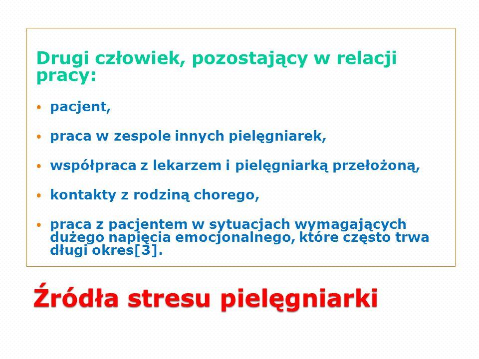 Źródła stresu pielęgniarki Drugi człowiek, pozostający w relacji pracy: pacjent, praca w zespole innych pielęgniarek, współpraca z lekarzem i pielęgni
