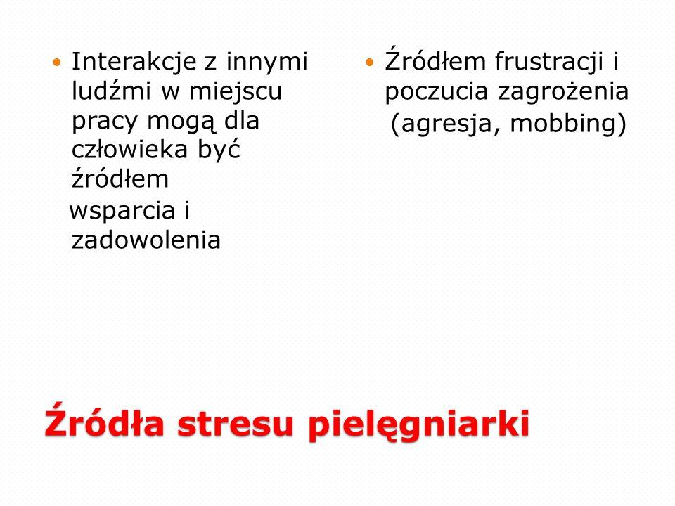 Źródła stresu pielęgniarki Specyficzne dla zawodu: ekspozycja na najbardziej wstydliwe aspekty funkcjonowania człowieka poprzez oglądanie, słuchanie i dotykanie wszystkich części nagiego ciała i jego produktów, często w prywatnych i nieprzyjemnych stanach funkcjonalnych, kontakt z pacjentem może przebiegać w związku z tym w atmosferze napięcia, strachu i poczucia bezsilności, często w sytuacji desperacji pacjenta