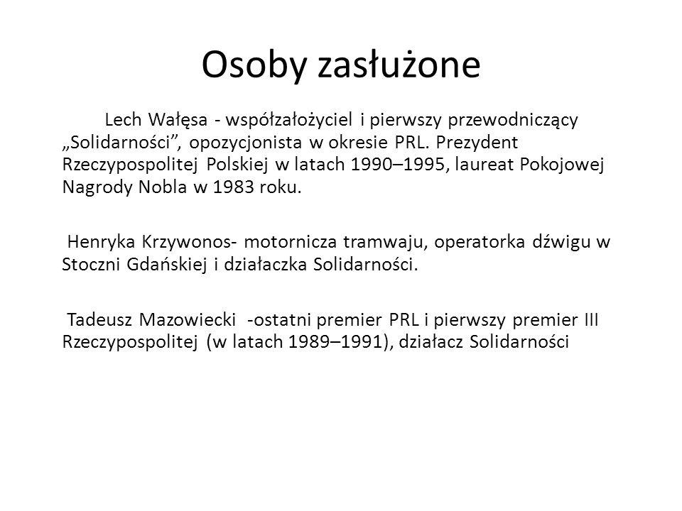 """Osoby zasłużone Lech Wałęsa - współzałożyciel i pierwszy przewodniczący """"Solidarności"""", opozycjonista w okresie PRL. Prezydent Rzeczypospolitej Polski"""