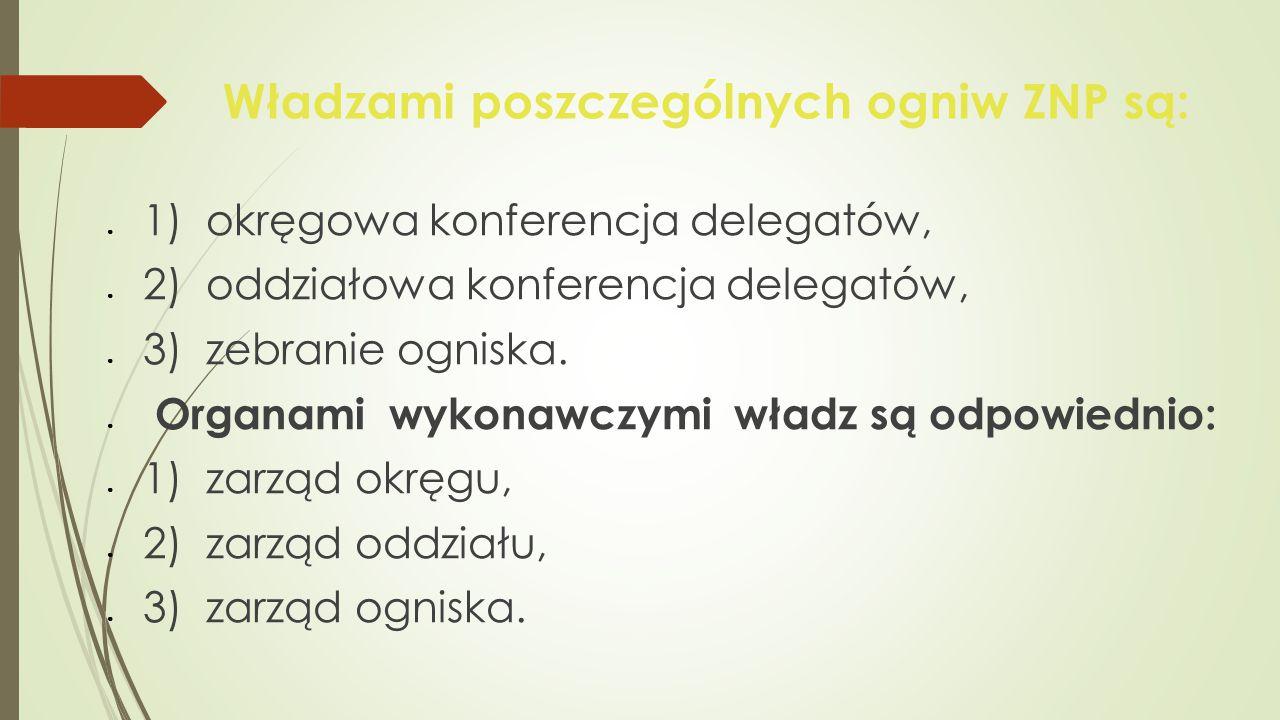 Władzami poszczególnych ogniw ZNP są: ● 1) okręgowa konferencja delegatów, ● 2) oddziałowa konferencja delegatów, ● 3) zebranie ogniska. ● Organami wy