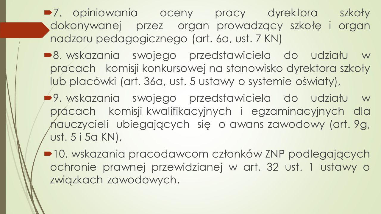  7. opiniowania oceny pracy dyrektora szkoły dokonywanej przez organ prowadzący szkołę i organ nadzoru pedagogicznego (art. 6a, ust. 7 KN)  8. wskaz