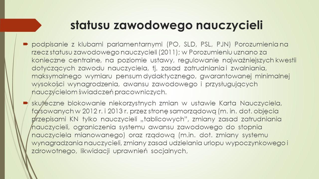 statusu zawodowego nauczycieli  podpisanie z klubami parlamentarnymi (PO, SLD, PSL, PJN) Porozumienia na rzecz statusu zawodowego nauczycieli (2011);