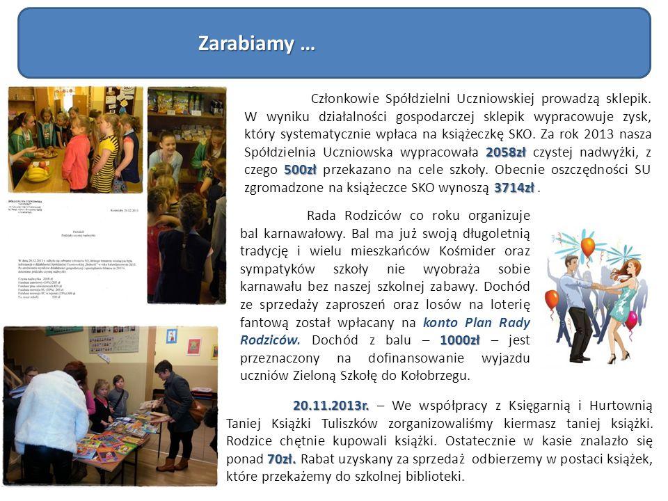 2058zł 500zł 3714zł Członkowie Spółdzielni Uczniowskiej prowadzą sklepik. W wyniku działalności gospodarczej sklepik wypracowuje zysk, który systematy