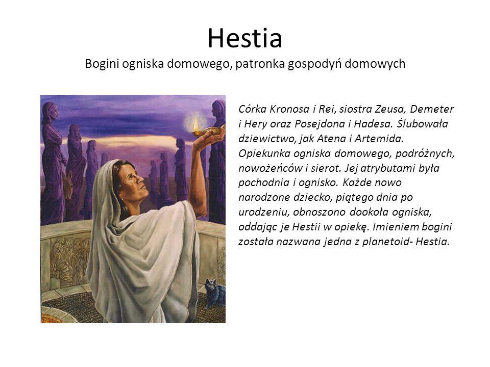 Hestia Bogini ogniska domowego, patronka gospodyń domowych Córka Kronosa i Rei, siostra Zeusa, Demeter i Hery oraz Posejdona i Hadesa. Ślubowała dziew