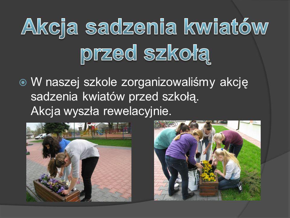  W naszej szkole zorganizowaliśmy akcję sadzenia kwiatów przed szkołą. Akcja wyszła rewelacyjnie.