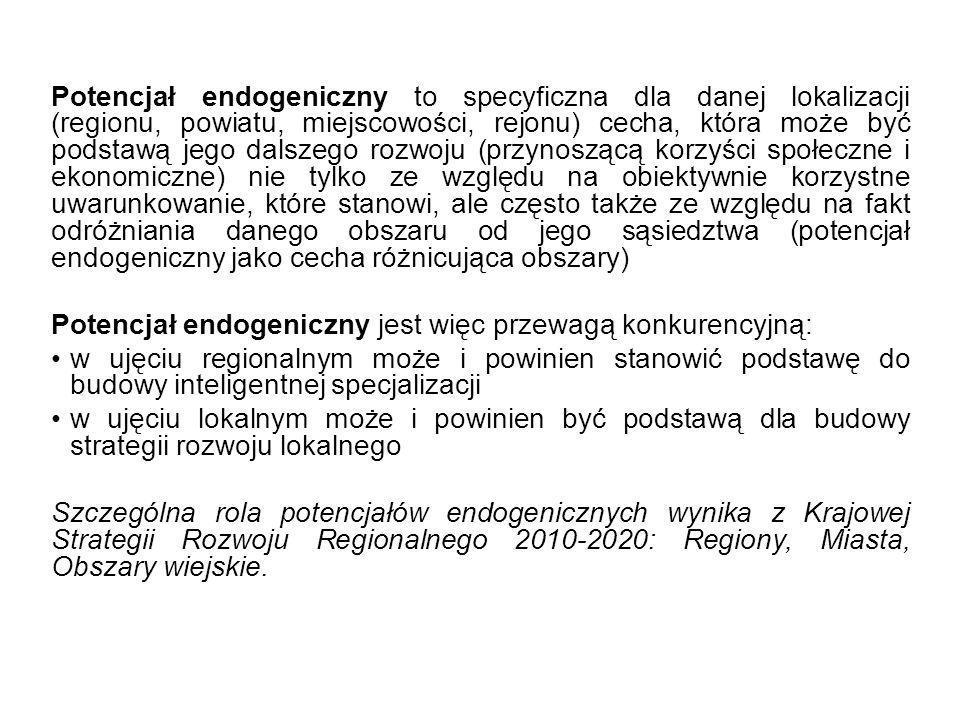 Potencjał endogeniczny to specyficzna dla danej lokalizacji (regionu, powiatu, miejscowości, rejonu) cecha, która może być podstawą jego dalszego rozw