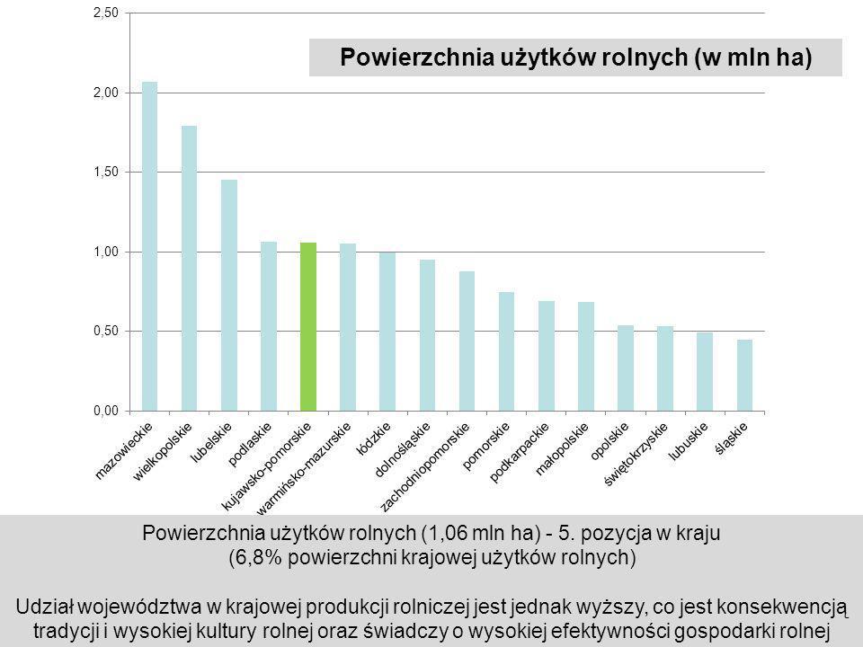 Powierzchnia użytków rolnych (w mln ha) Powierzchnia użytków rolnych (1,06 mln ha) - 5. pozycja w kraju (6,8% powierzchni krajowej użytków rolnych) Ud