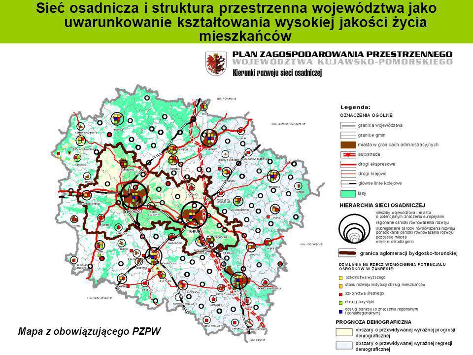 Sieć osadnicza i struktura przestrzenna województwa jako uwarunkowanie kształtowania wysokiej jakości życia mieszkańców Mapa z obowiązującego PZPW